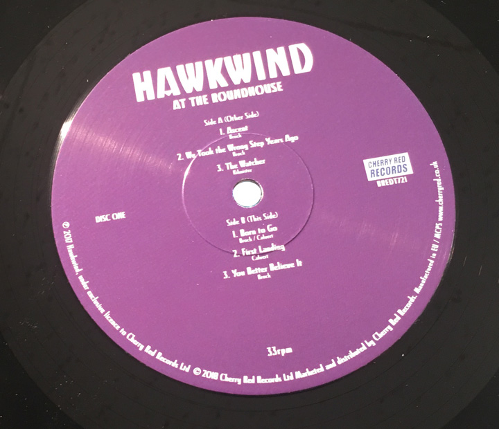 HAWKWIND / AT THE ROUNDHOUSE VINYL LABEL